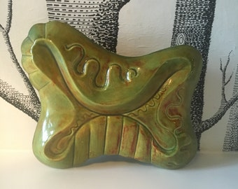 Retro Green Ceramic Box with Lid Pottery Catchall Jewelry Box