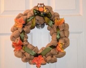 "12"" Burlap Fall Wreath with Leaves and Owl, Door Decor, Autumn Wreath"