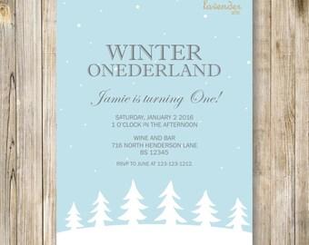 BLUE WINTER ONEderland BIRTHDAY Invitation, Christmas First Birthday Invite, Winter Wonderland, Boy 1st Birthday Printable, Snowflake