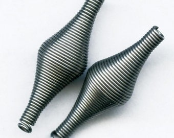Vintage coiled steel bead. 32x10mm pkg of 4. b18-0261(e)