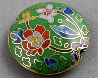 Cloisonne on brass disk bead. 35x10mm. Pkg of 1. b2-457(e)