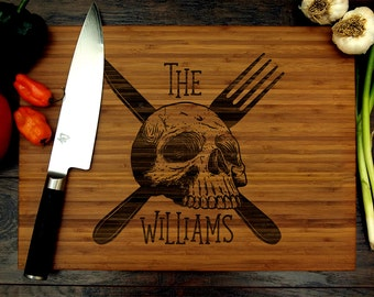 Personalized Cutting Board, Wedding Gift, Engraved Chopping Board, Skull, Fork and Knife, Chef Gift, Housewarming Gift, Groomsmen Gift, Cook