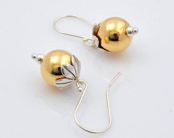 Large Ball Dangle Earrings, Gold-Filled Dangle Earrings, Drop Earrings, Flower Drop Earrings, Flower Dangle Earrings