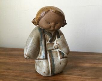 Mid Century Modern Vintage UCTCI Japanese Stoneware Woman Figurine