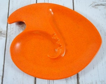 Vintage Atomic Orange Ceramic Ash Tray ~ Retro Mad Men Style Ash Tray ~ Vintage Speckled Pottery