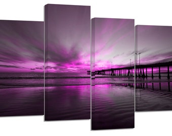 purple beach sunset/set of 4 new split canvas prints.