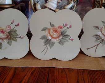 Vintage Hand Painted Roses On Wood Set of Six