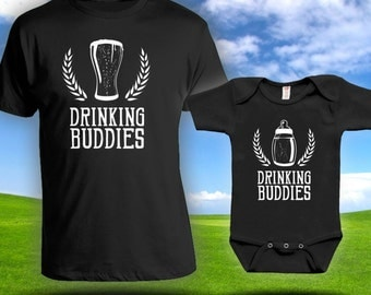 Drinking Buddies Matching t-shirts- Father son matching shirts, Gifts for Him, Gifts for Dad, father's day gift, baby bodysuit CT-593-594