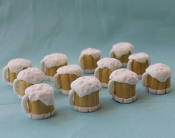Fondant Beer Mugs Cupcake Toppers, 12 pack