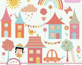 Rainbow village, whimsical rainbow, digital clip art set