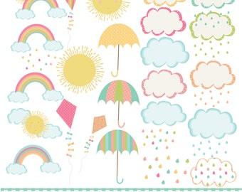 Rainbow, clouds kites and umbrella,  printable digital clipart set.
