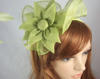 Green Sinamay Corsage & Ruffle Fascinator - Occasion Wedding Races