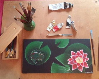 Original, hand-painted in acrylic- Frog and Lilly Pad