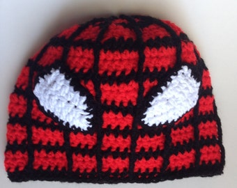 Spidermen - Advengers Crochet Red Hat, Kids Beanie, Earflap Spider-men Crochet Hat, Inspired Character Beanie, Kids and Adults Red Hat