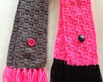 Checkboard Long Girl Scarf, Gray and Hot Pink Neck Warmer w/buttons and Strings