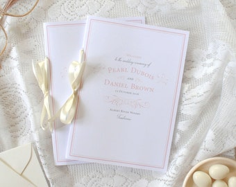 Print-It-Yourself Custom Wedding Programs Pink Elegant Wedding French Inspired Wedding -- Pearl