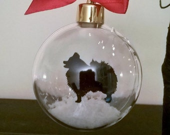 Pomeranian Silhouette in Snow Acrylic Bauble can be Personalised