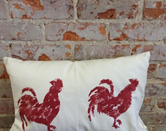 Rooster Pillow/Hand Painted/Throw Pillow/Farmhouse Pillow/Cottage Chic/Roosters