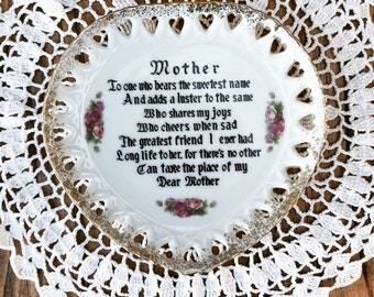 Vintage Heart Shaped 'Mother' Plate