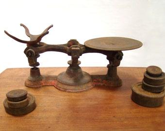 Vintage Scale; Cast Iron Scale; Vintage Balance Scale; Scale with Weights; Red Scale; Antique Scale