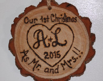 Mr Mrs Ornament - Our First Christmas Ornament - Wedding Ornament - Engraved Mr Mrs Ornament - Personalized Ornament - Lucky Bee Design