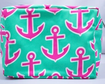 Cosmetic Bag-Make Up-Mint Green-Anchor-Pink Anchor-Luggage-Travel
