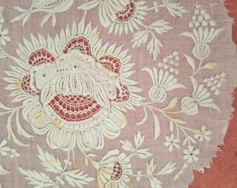 Antique 19th C French lace handmade delicate floral motif embroidery whitework, white, costume design, vintage wedding, doll clothing