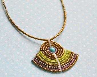Tribal fan-shaped pendant bead-work necklace