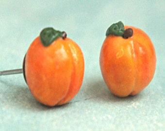 peach earrings-miniature food jewelry, fruit earrings