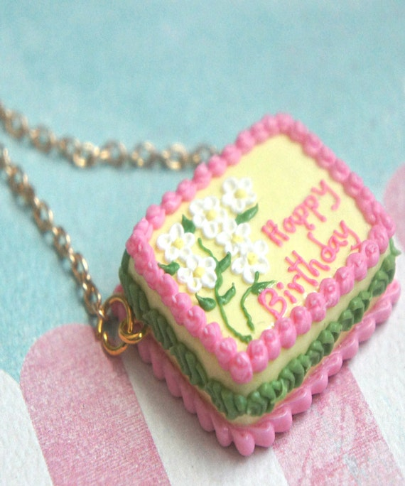 Birthday Cake Necklace Food Jewelry Miniature Food