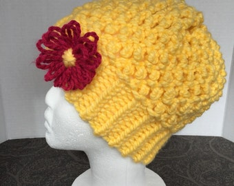 Knit Popcorn Stitch Hat Pattern : Popcorn knit stitch Etsy