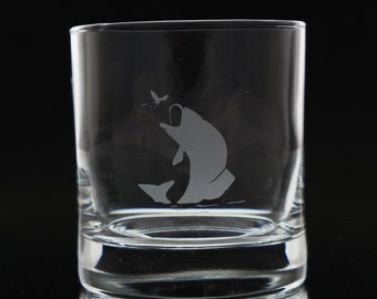 Fish Whiskey Glass- Etched Whiskey Glass- Scotch Glass- Fish Glass- Etched Whiskey Glass