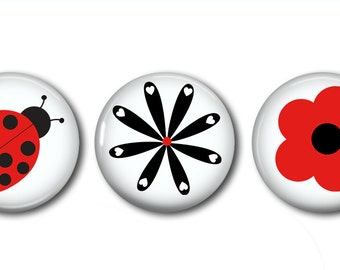 Ladybug Magnets Set of 3 Magnets 1 Inch (2.5cm)