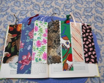 FREE Shipping on Lot of 7 Fabric or Cloth Bookmarks Multi Color and Size