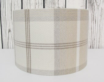 Handmade lampshade in a natural cream tartan fabric