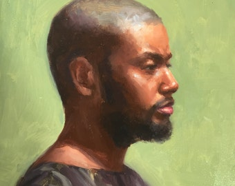Portrait of African-American man. Man profile. Original oil painting by Yana Golikova. Small painting 6*6 Affordable art