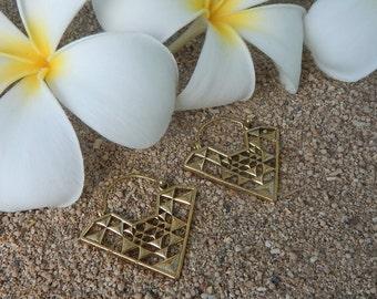 Brass Earrings, Tribal Jewelry, Geometric Triangle Earrings, Tribal Earrings, Brass Earrings, Bohemian Jewelry, Ethnic Earrings