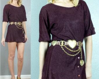 70's Boho Burgundy Semi Sheer Cuffed Sleeve Simple Jersey Mini Dress XS-S