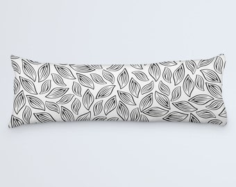 Black White Body Pillow Cover, Leaf Patterned Pillow, Leaves Body Pillow, Modern Large Pillow, Large Pillowcase, 20x54 Pillow Case