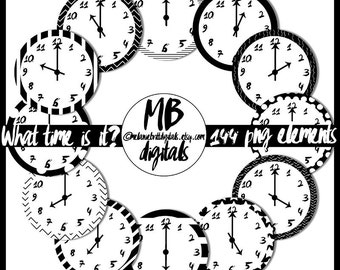 CLOCK Clipart, Black and White Clocks, Editable Clocks, Clock Patterns, Designer Clocks, Hour Clocks, INSTANT DOWNLOAD