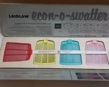 Holy Retro Kitchen or Porch! Vintage Multi Color Salesman Sample Fly Swatter Set! Great Vintage Advertising Sample!