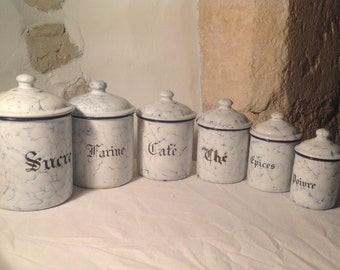 Vintage French chippy enamel storage pots - jars - canisters - containers - sugar - coffee - tea set of six nesting