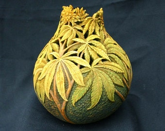 Hand Carved Gourd with Cannabis Leaves