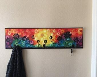 Bright Abstract Sunset Flower Key/coat Hanger
