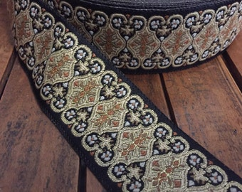 "Renaissance Brocade Ribbon, Black, Gold and White Floral Pattern, 1 3/4"" wide"