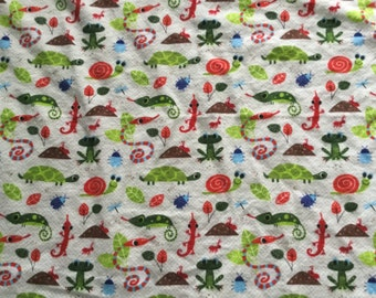 Turtles, frogs and bugs flannel/minky baby blanket