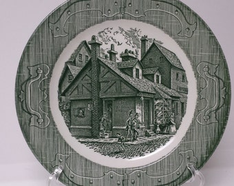 Vintage Green Transferware Dinner Plate; The Old Curiosity Shop; Made in USA