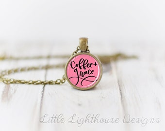 Petite Coffee and Grace Necklace Small Pendant Necklace Anchor Pendant Necklace Gift