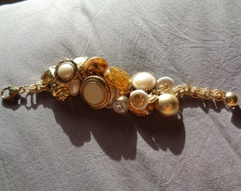 Handmade Charm Bracelet with Vintage Buttons