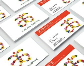 READ ITEMS DETAILS! Custom Arbonne Business Card Design. With flower logo.